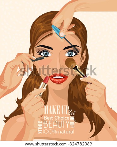many hands with cosmetics brush