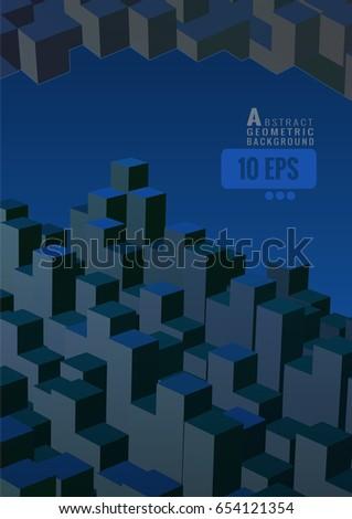 many isometric abstract cube