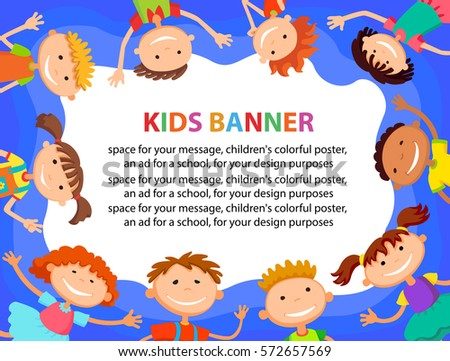 many kids around the banner, template , Vector child illustration.