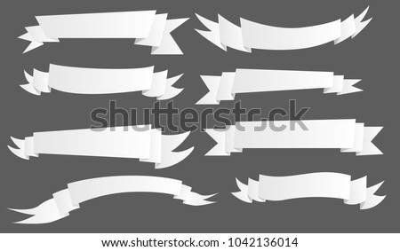 Many kind of ribbon-ribbin banner for text in light white-grey color style in many shape on dark background-for promotion board, sale poster