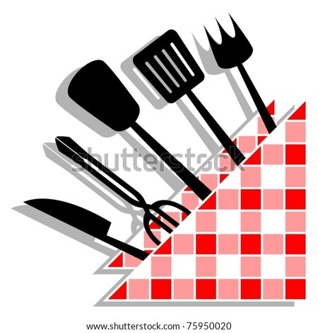 Many kitchen utensils decorated with a napkin design