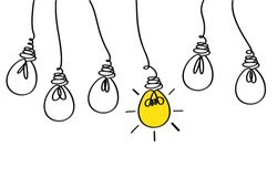 Many lamps hanging from above. Light bulbs icon concept of idea. Vector on white background. Contour line.