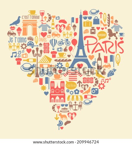 Many Paris France Icons Landmarks and attractions in a heart shape