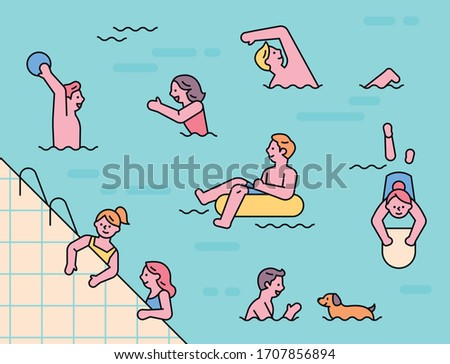Many people are swimming in indoor swimming pools. flat design style minimal vector illustration.