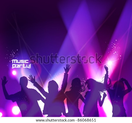 many people dancing in the club with neon lights effect