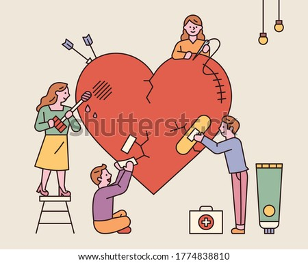Many people heal massive heart wounds together. flat design style minimal vector illustration. Stockfoto ©