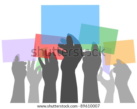 Many people holding up colorful copy space cards in their hands
