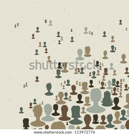Many people silhouettes, abstract communication themed background. Vector, EPS10
