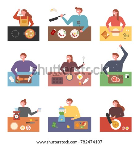 Many people who cooking various food vector illustration flat design