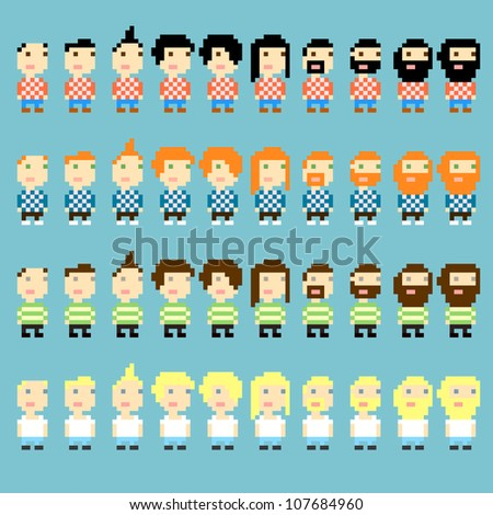 Many pixel art icons with different men's haircuts and clothes, vector