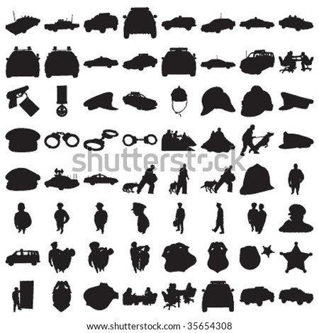Many Police Silhouettes 2