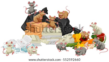 many rats searching the trash