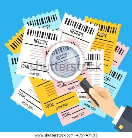 Shutterstock Many receipts and hand holding magnifying glass. Many bills, checks and magnifier. Budget, finances, financial analysis, income and expenses, accounting concept. Modern flat design vector illustration