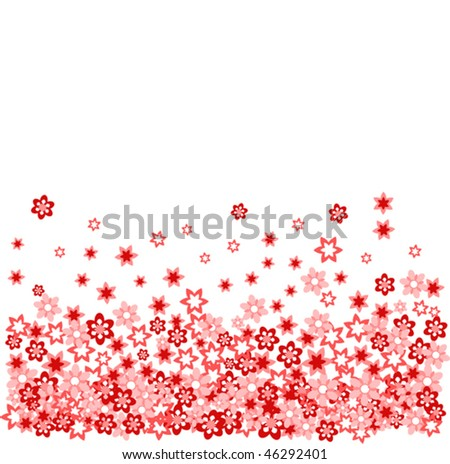 many red flower on withe vector illustration