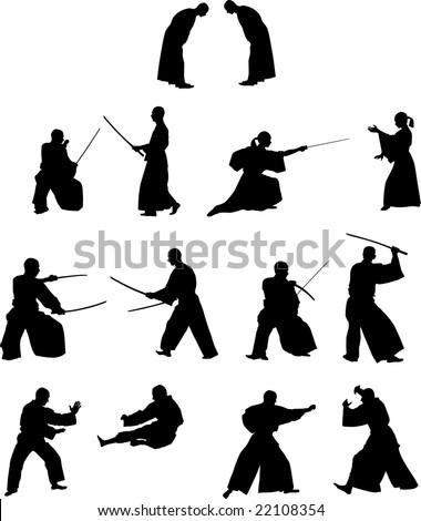 many silhouettes of samurai