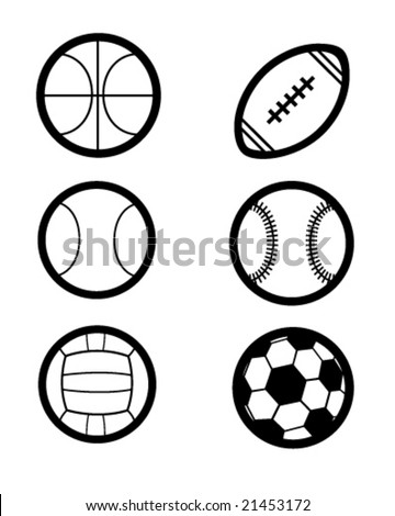 many sports balls as vector icons
