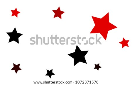 Many Stylish, Modern and Nice Looking Black and Red Stars of Different size on White Background