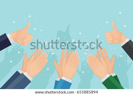 Many thumbs up and clapping hands isolated on background. Applause, bravo. Congratulations, kudos, recognition concept. Approval, customers feedback, good job concept. Vector flat illustration.