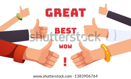 Many thumbs up gesturing hands. Approval, positive feedback, appreciation and acceptance concept. Like gesture. Flat style vector illustration
