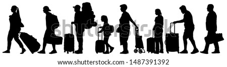 Many tourists with suitcases. Queue for check-in at the airport. A crowd of people stand in line for tickets at the station. Vector silhouette