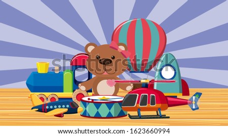 many toys on wooden floor