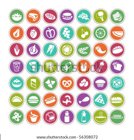 many vector food icons set 4