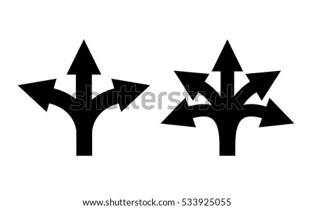 Many ways directional arrow icon set on white background. Arrow fork sign. Arrow road direction icon.