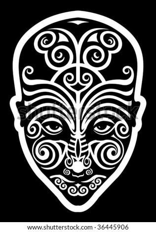stock vector : maori face tattoo