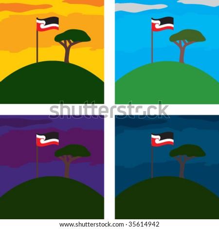Maori Flag on One Tree Hill, Auckland, New Zealand