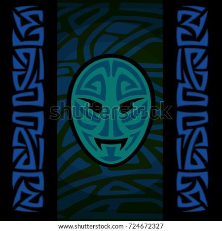maori mask with tribal pattern