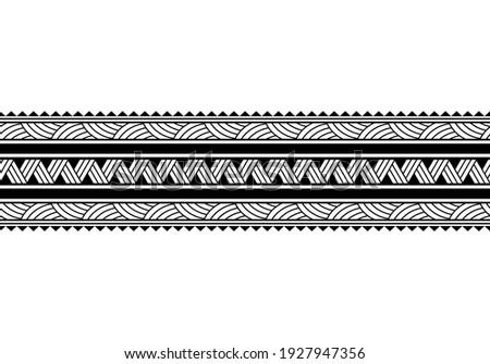 Maori polynesian tattoo bracelet. Tribal sleeve seamless pattern vector. Samoan border tattoo design fore arm or foot. Armband tattoo tribal. band fabric seamless ornament isolated on white background