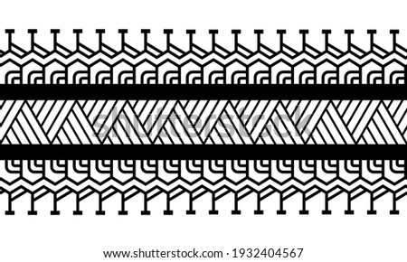 Maori polynesian tattoo bracelet. Tribal sleeve seamless pattern vector. Samoan border tattoo design fore arm or foot. Armband tattoo tribal. band fabric seamless ornament isolated on white background