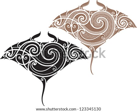 Maori styled tattoo pattern in shape of manta ray Fit for shoulders and upper back
