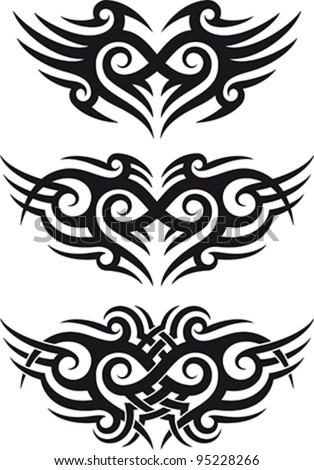 Maori tribal tattoo patterns fit for a shoulder or lower back zone.