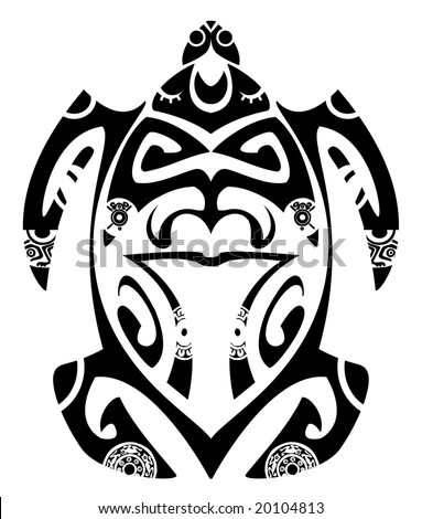 stock vector : Maori tribal turtle - Tattoo style