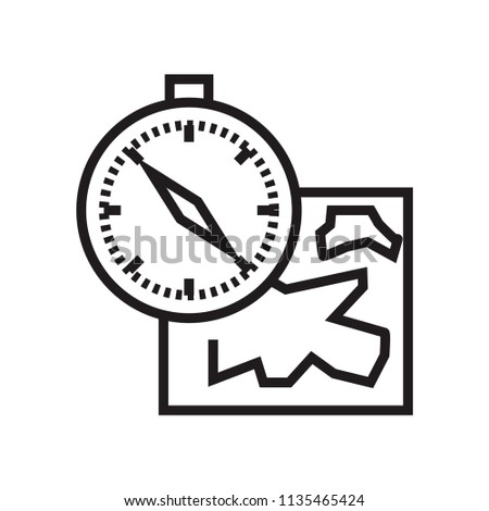 Map and compass orientation tools icon vector isolated on white background for your web and mobile app design, Map and compass orientation tools logo concept