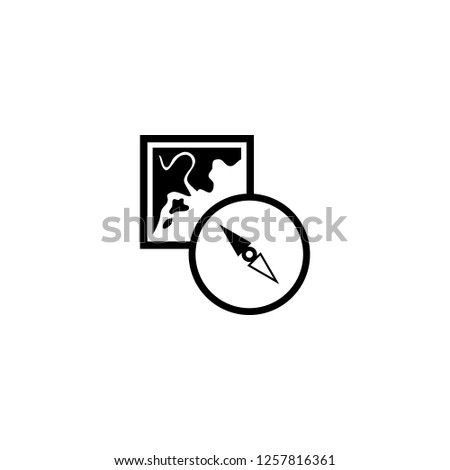 map and compass orientation tools icon vector. map and compass orientation tools vector graphic illustration