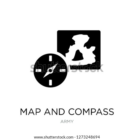map and compass orientation tools icon vector on white background, map and compass orientation tools trendy filled icons from Army collection