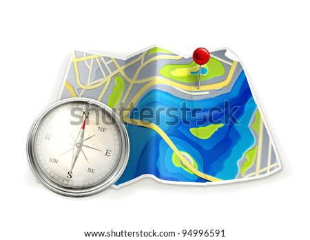 Map and compass, vector