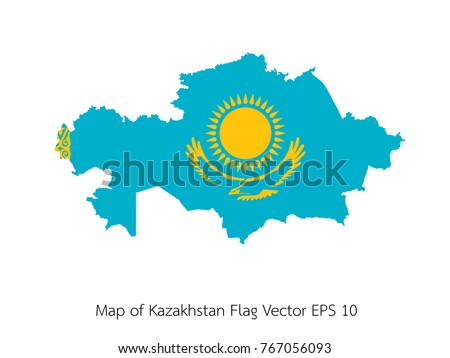 Map and flag Kazakhstan of Vector EPS10