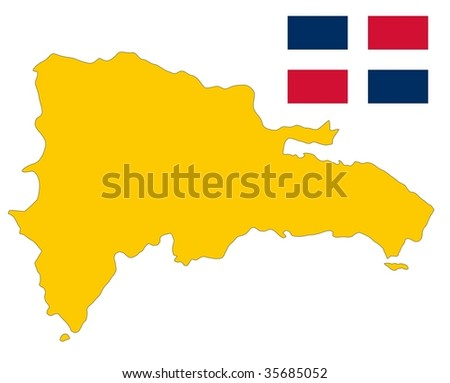 map and flag of dominican