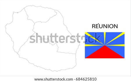 map and flag of reunion french