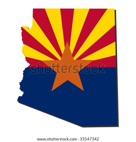 Map and flag of the State of Arizona - stock vector