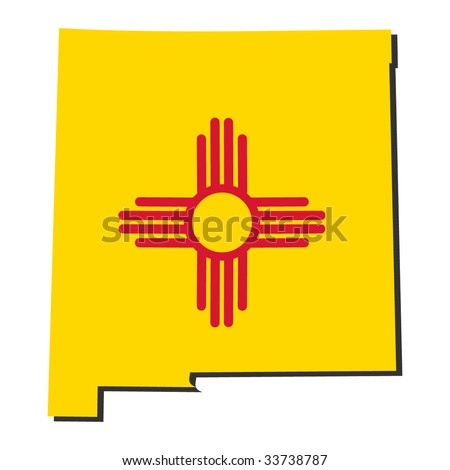 Map and flag of the State of New Mexico