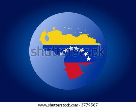 map and flag of Venezuela globe illustration