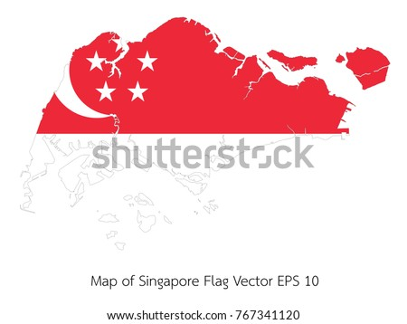 Map and flag Singapore of Vector EPS10 | EZ Canvas