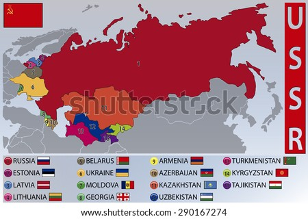 map and flags of the republics