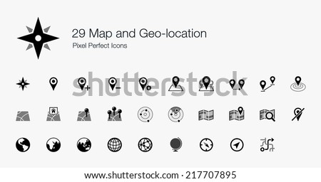 Map and Geo-location Pixel Perfect Icons