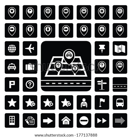 map and location icons for