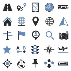 Map And Location Icons. Two Tone Flat Design. Vector Illustration.